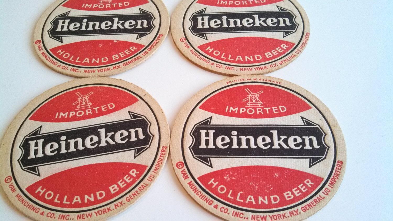 Vintage heineken beer coasters red and black cardboard van - Cardboard beer coasters ...