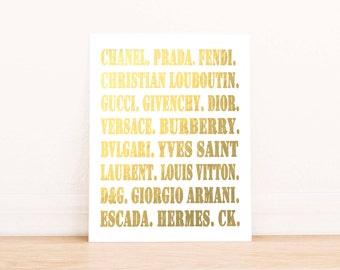 Fashion Designers Wall Art, PRINTABLE ART, Chanel, Hermes, Gucci, Prada,Louis Vitton, Versace, Dorm Decor, gold foil, Dior, Instant download