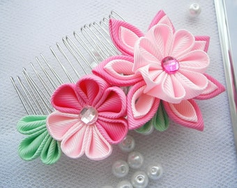 Handmade Kanzashi fabric flower hair comb fascinator- buy in UK,shipping worldwide
