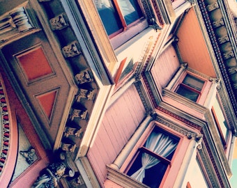 """Pink Victorian House San Francisco Up 8x8"""" Photo Architecture"""