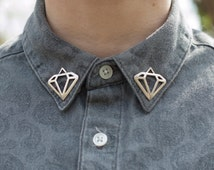 Silver Diamond Collar Pins With or Without Chain