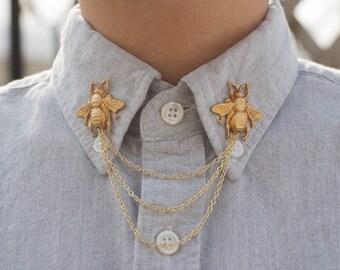 Gold Bee Collar Chain Collar Clip