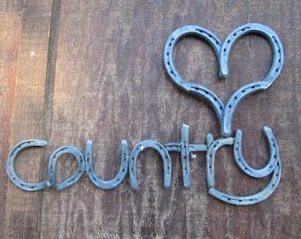 Ranch Home Decor - Custom Colors - Ranch Decor - Horse Shoe 'heart' Country Sign