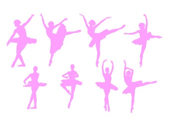 Ballerinas - Set of 8 Silhouette Ballet Dancers- VINYL Decal Stickers Any Color