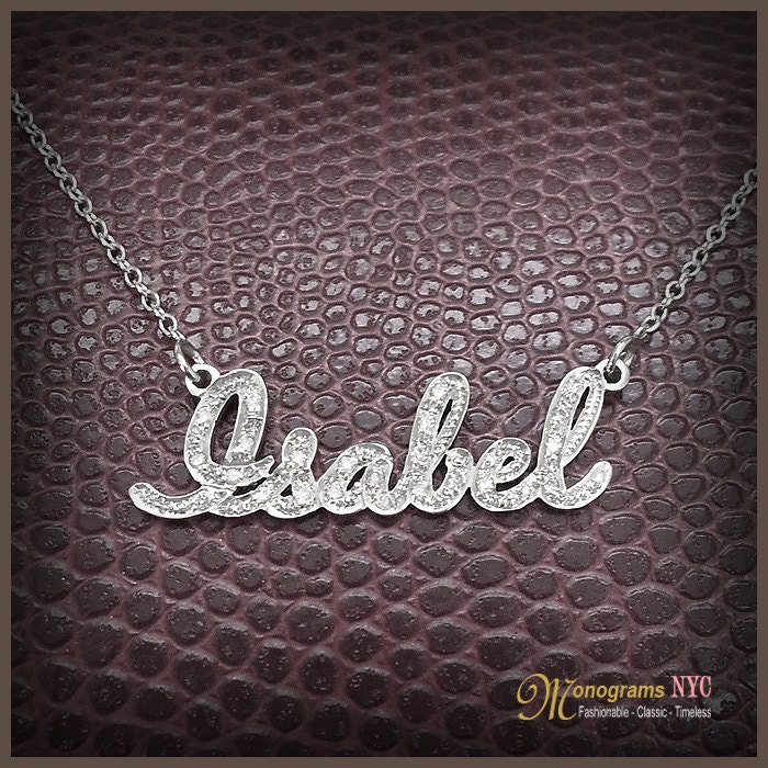 14kt gold and diamond name necklace hand crafted name. Black Bedroom Furniture Sets. Home Design Ideas