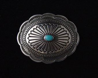 Silver Concha Pin Brooch with Sleeping Beauty Turquoise....Made to Order