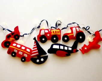 Boys room decor fairy lights- vehicle themed, aeroplane and fire engine, boat and car, nightlight