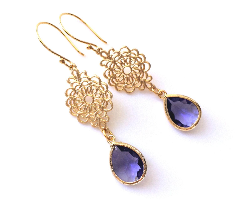 Teardrop Tanzanite: Tanzanite Glass Teardrop Earring Purple Bridesmaids Earrings