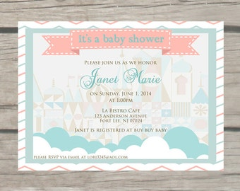 Its a small world Baby Shower Invitations