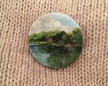 """Miniature Painting Button, Miniature Landscape, Painted Button, """"Serene"""""""
