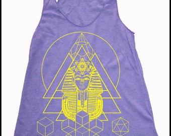 Women's Pharaoh's Dream Tank Top Egyptian Sacred Geometry Screen Print