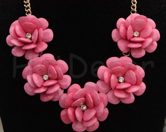 Five Flower necklace gift Statement necklace bubble necklace bib necklace rose necklace pink necklace red necklace coral necklace
