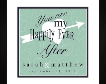 Personalized Art - Happily Ever After Anniversary Wedding Wall Art Gift WHAPAFTR