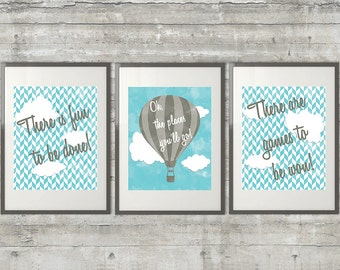 Oh The Places You'll Go, There is fun to be done Dr. Seuss Nursery Art Set of 3 8x10 Prints in gray and blue