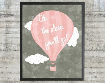 Nursery Art, Playroom Art - Dr. Seuss Wall Art - Oh The Places You'll Go 16x20 Print in Charcoal and Blush