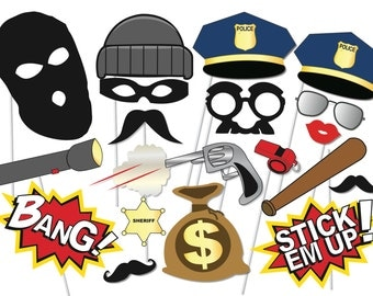 Cops and robbers Party Photo booth Props Set - 20 Piece PRINTABLE - Police, Robbers, party decoration, game