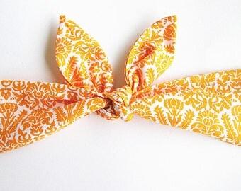 Tie up Headband, Head wrap, Headscarf, Pin Up Headbands,  Tie up Headscarf, Tangerine damask..