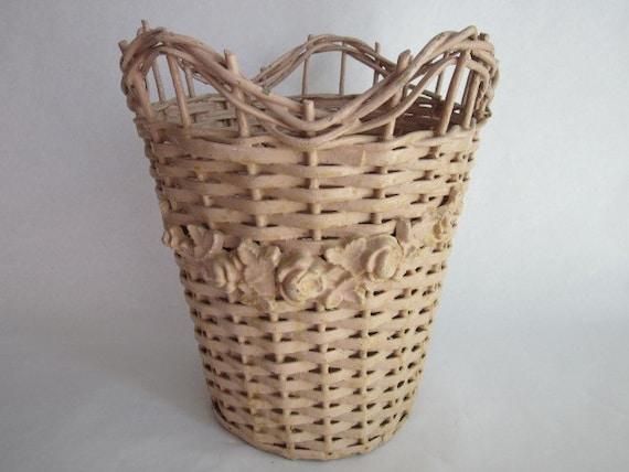 Super shabby chic waste basket - Shabby chic wastebasket ...