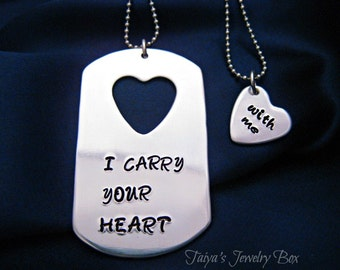 I Carry Your Heart Necklace - Hand Stamped Dog Tag - Couples Necklace