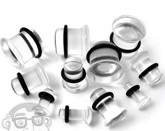 "Clear Glass Plugs - Single Flare (8G - 5/8"") Sold In Pairs - New!"