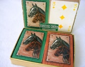 Mid Century Forcolar Playing Cards, Race Horse Playing Cards, Vintage 1940's Double Deck Card Box, Texas Holdem, Plastic Coated Cards