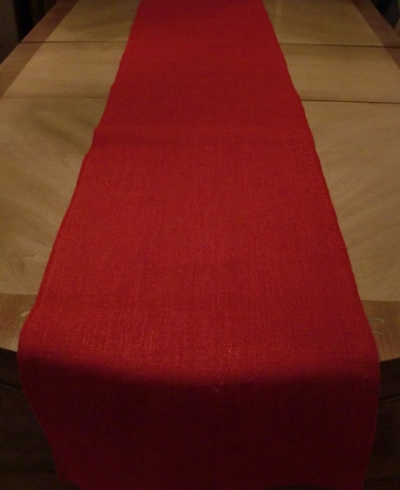 14 x 120 red burlap table runner serged edges for 120 table runners