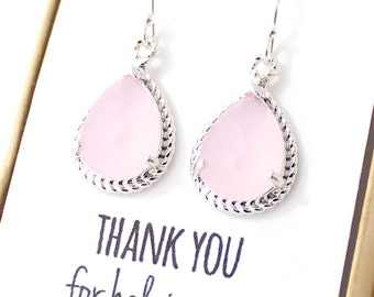 Blush Pink / Silver Rope Rim Earrings - Pink Bridesmaid Earring - Pink Earings - Bridesmaid Jewelry - Bridal Party Gifts - ER1
