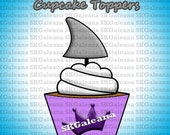 Printable Shark Fin Cupcake Toppers Instant Download Printable DIY
