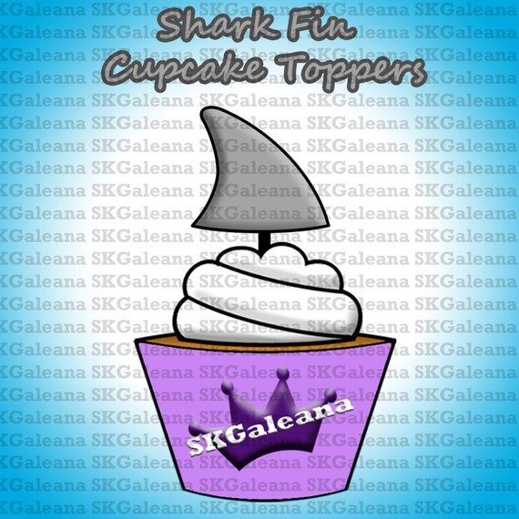 printable shark fin cupcake toppers instant download printable. Black Bedroom Furniture Sets. Home Design Ideas