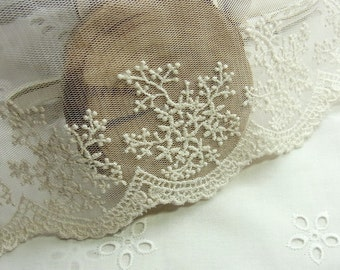 1 yard Vintage Style Embroidery Tulle Lace Trim 12.5 cm wide #601
