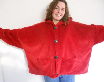 Winter coat, a short coat, a comfy plus size coat,made in Ireland, a wonderful piece of fleece clothing,one of our warm jackets