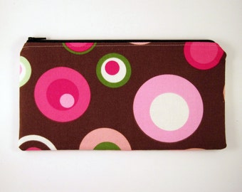 Circles on Brown Zipper Pouch, Gadget Bag, Make Up Bag, Pencil Pouch