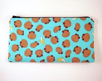 Monkey Zipper Pouch, Cosmetic Pouch, Gadget Bag, Pencil Case