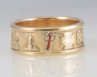 Vintage Masonic 14K Yellow Solid Gold Ring Size 11