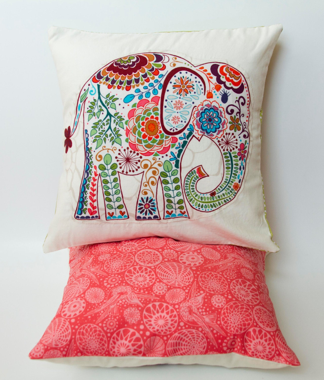 Elephant Pillow 12x12 Decorative Throw Pillow