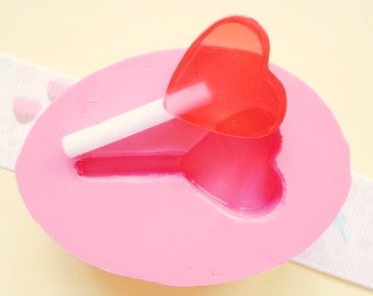 35mm Heart Lollipop - Decoden Kawaii Sweets Resin Fimo Polymer Clay Sculpey Wax Soap Fondant Cabochon