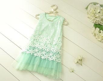 Mint Flower Girl ,Wedding Dress,  Lace Baby Dress, Girl baby  Dress-Girls Dress-Flower Girl DressLace dress-birthday dress-toddler dress
