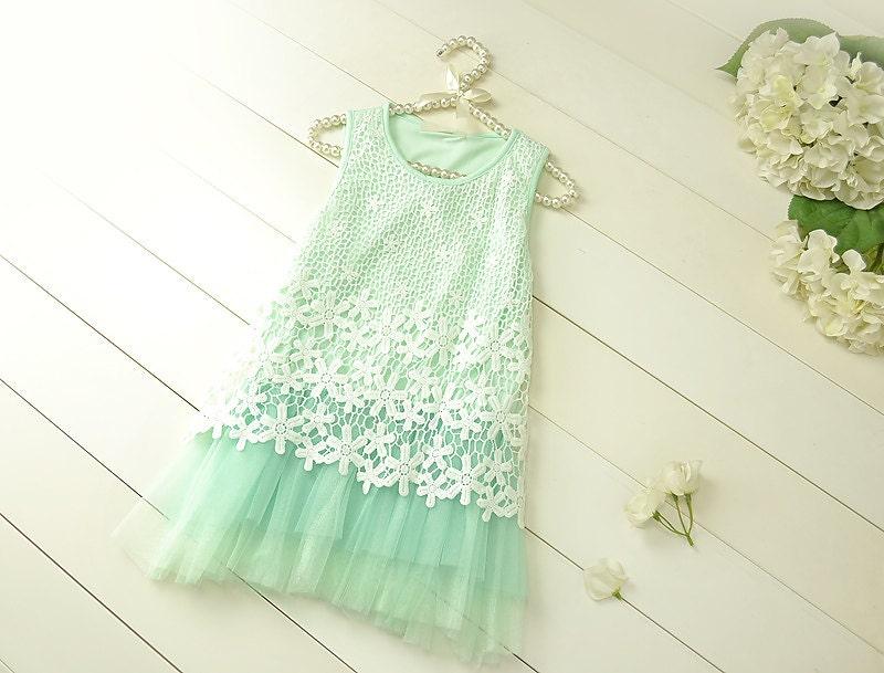 Mint Flower Girl Wedding Dressivory Lace Dress mint Dress