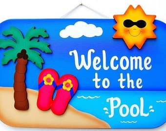 Outdoor Pool Sign -Beach Tropical Pool
