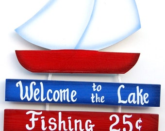 Outdoor Lake Sign -Sailboat Lake