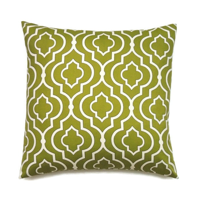 Olive Green Pillow Geometric Decorative Pillows 16x16 Pillow