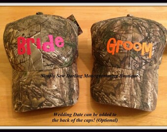 Personalized Bride or Groom or Bridal Party Camo Hat with Wedding Date or Last Name