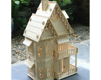 Miniature Dollhouse 3d Wooden Puzzle House Model Diy Toy House W Furnitures Gothic Villa