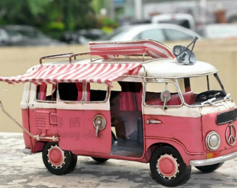 Miniature Retro Style Pink Volkswagen Trailer Car Model Hand Made Metal Toy Car Home Decor Office Decor Gift