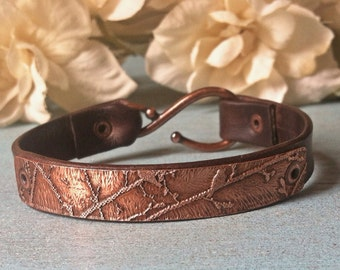 Women's Leather Bracelet, Etched Copper, Rustic Jewelry, Country Wedding, Gift for Her