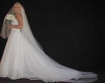 2layer wedding veil with scatered pearls. 2layer bridal veil with scattered pearls. Reading to Ship!