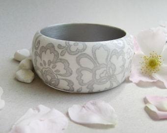 Wooden bracelet . Light wooden bracelet . White with silver . Eco jewelry