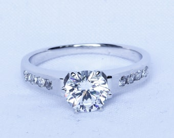 Solid Sterling Silver Solitaire engagement ring with 1.25ct White Topaz