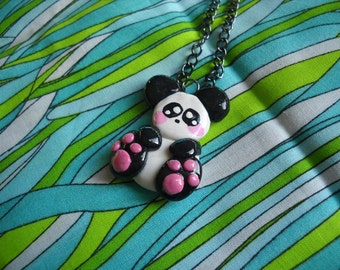 Panda Bear polymer clay charm necklace