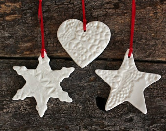 Handmade Christmas Decorations - Set of Three